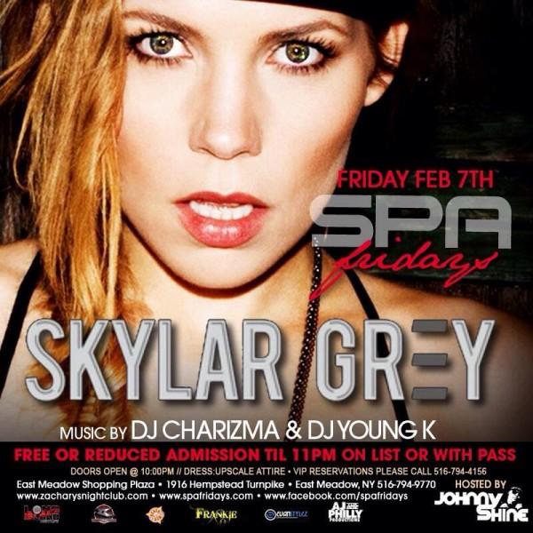 7 февраля Скайлар Грей выступит в клубе Spa Fridays в Нью-Йорке