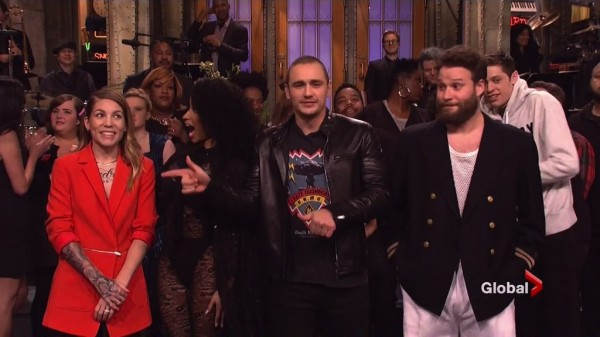 Fun nite with @nickiminaj @jamesfrancotv & @sethrogen on #SNL! Honored to be surrounded by so much talent. #BedOfLies 7 декабря 2014